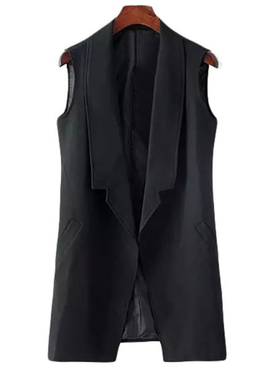women Turn-Down Collar Solid Color Sleeveless Waistcoat - BLACK M