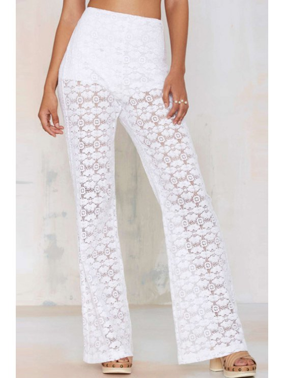 outfits White Lace High Waisted Flare Pants - WHITE S