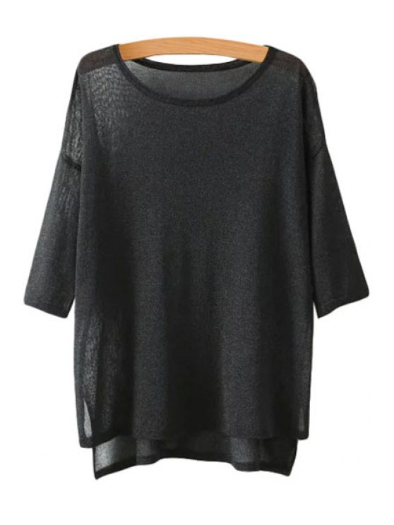 new High Low See-Through Half Sleeve Sweater - BLACK ONE SIZE(FIT SIZE XS TO M)