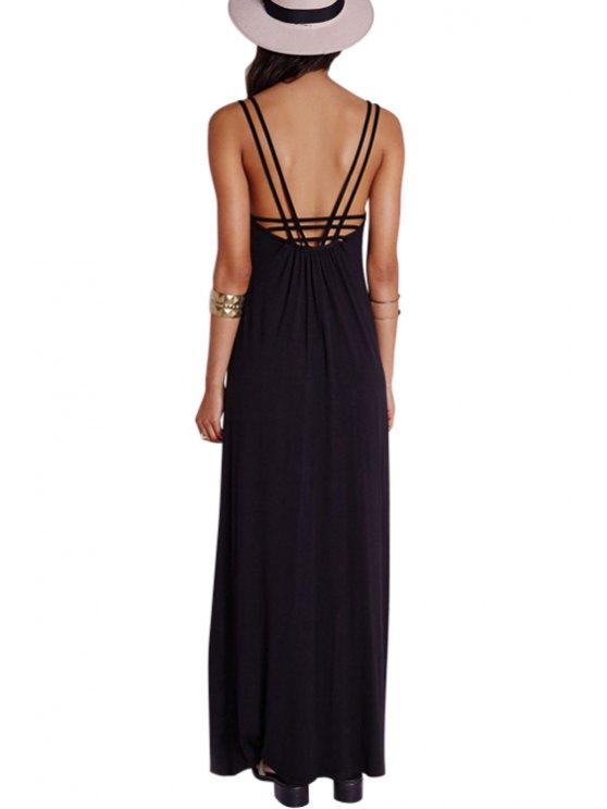 trendy Black Backless Spaghetti Strap Maxi Dress - BLACK S