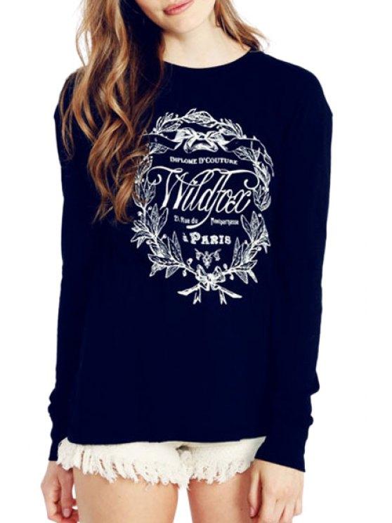 fancy Round Collar Letters Print Sweatshirt - PURPLISH BLUE S