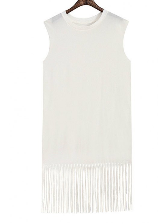 online Solid Color Tassels Spliced Women's Midi Dress - WHITE ONE SIZE(FIT SIZE XS TO M)