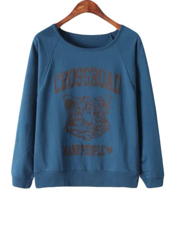 outfits Letter Tiger Print Long Sleeve Sweatshirt - CADETBLUE ONE SIZE(FIT SIZE XS TO M)