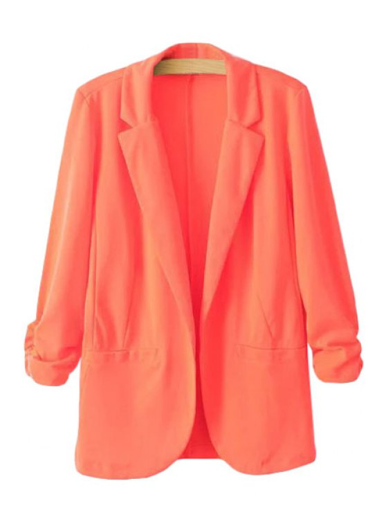 outfits Lapel Ruffle Solid Color Long Sleeve Blazer - JACINTH S