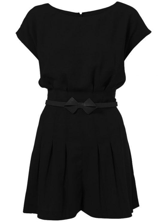 shops Solid Color Pleated Short Sleeve Romper - BLACK S