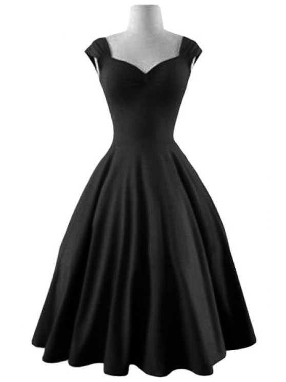 Reversible Solid Color Ball Gown Dress - BLACK M Mobile