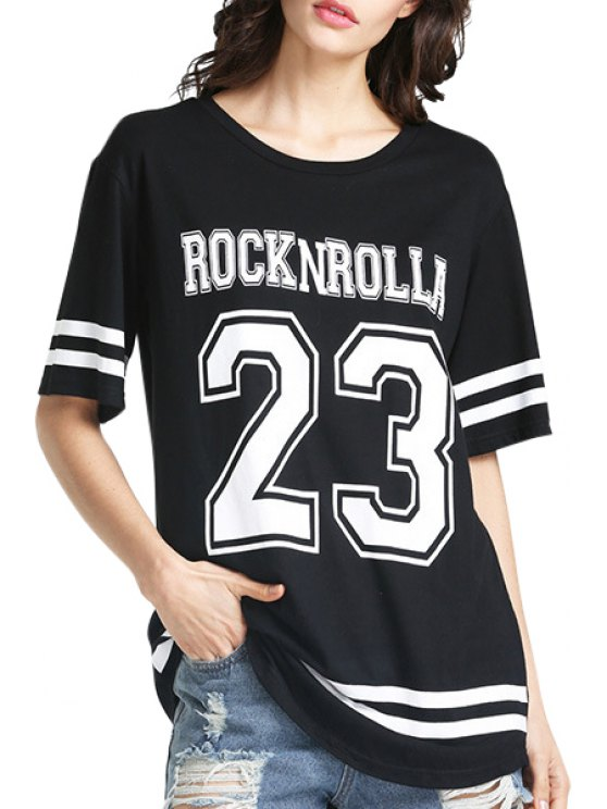 new Short Sleeve Number Pattern T-Shirt - BLACK S