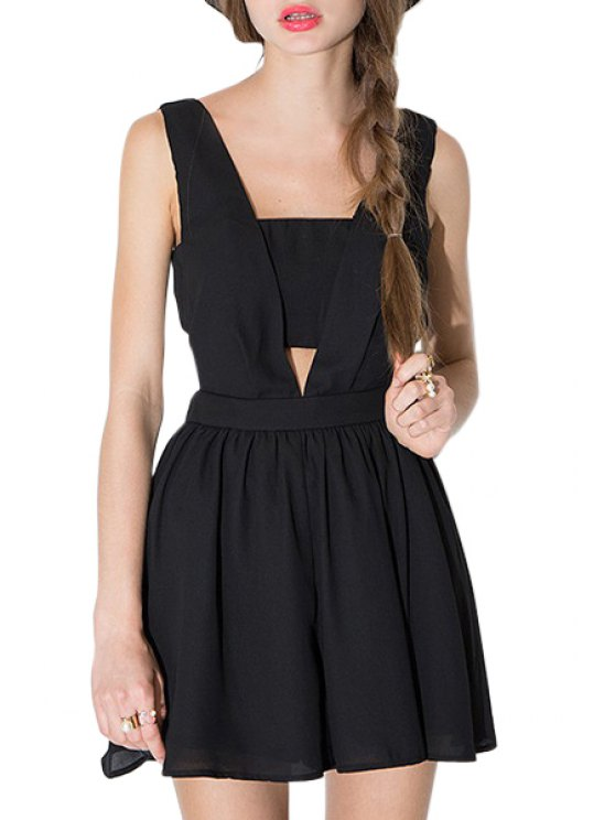 hot Black Cut Out Sleeveless Playsuit - BLACK S