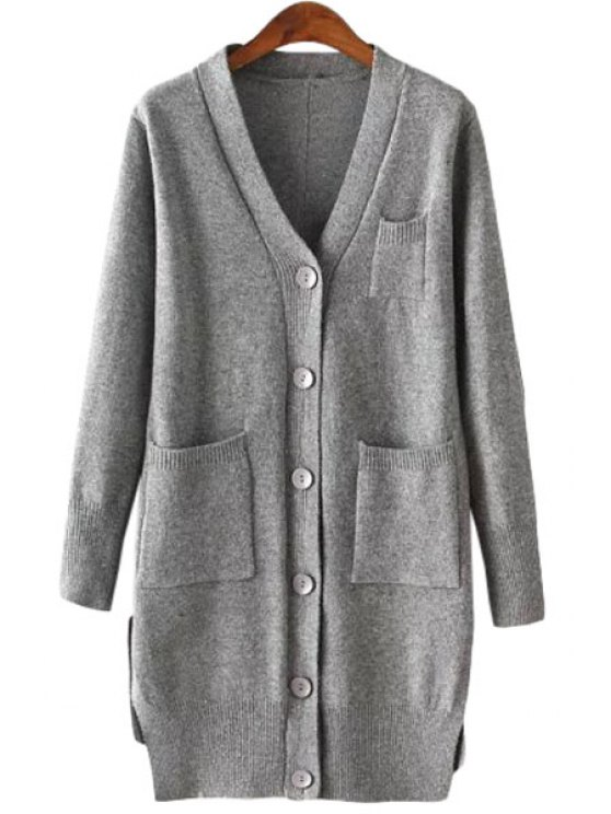 outfits V-Neck Solid Color Pocket Cardigan - GRAY ONE SIZE(FIT SIZE XS TO M)