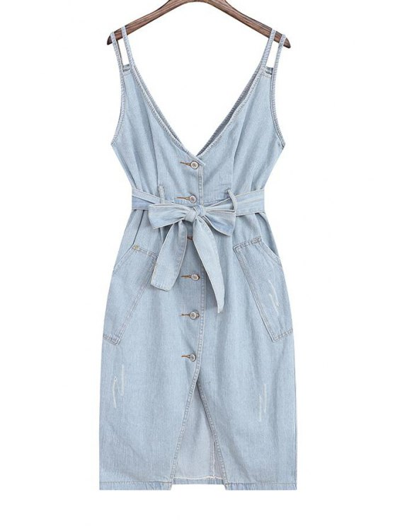 online Denim Pinafore Midi Dress With Belt - LIGHT BLUE ONE SIZE(FIT SIZE XS TO M)