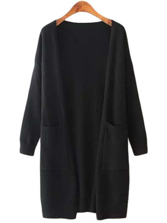 latest Collarless Pockets Solid Color Long Sleeve Cardigan - BLACK ONE SIZE(FIT SIZE XS TO M)