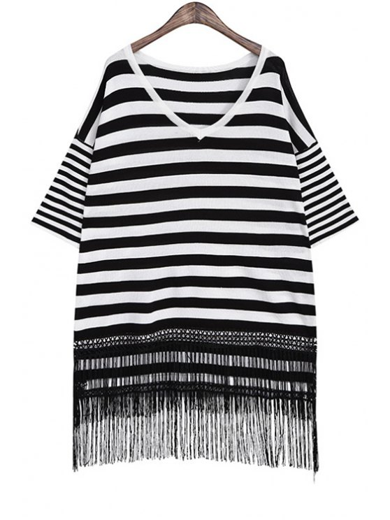 trendy Striped Tassels Spliced High Low Hem Sweater Dress - WHITE AND BLACK ONE SIZE(FIT SIZE XS TO M)