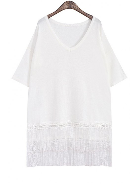 fashion Tassels Spliced High Low Hem Sweater Dress - WHITE ONE SIZE(FIT SIZE XS TO M)