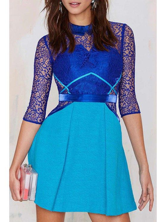 latest Lace Spliced Turn-Down Collar A Line Dress - BLUE L