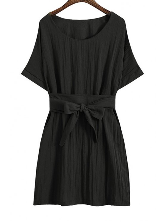 hot Solid Color Tie-Up Mini Dress - BLACK ONE SIZE(FIT SIZE XS TO M)