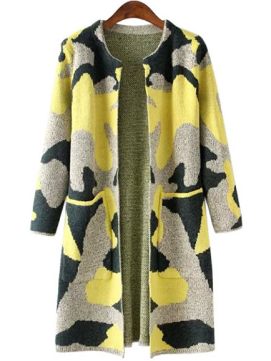 shop Camouflage Pattern Pocket Long Sleeve Cardigan - LIGHT YELLOW ONE SIZE(FIT SIZE XS TO M)