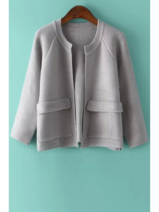 chic Pockets Solid Color Long Sleeve Cardigan - GRAY ONE SIZE(FIT SIZE XS TO M)