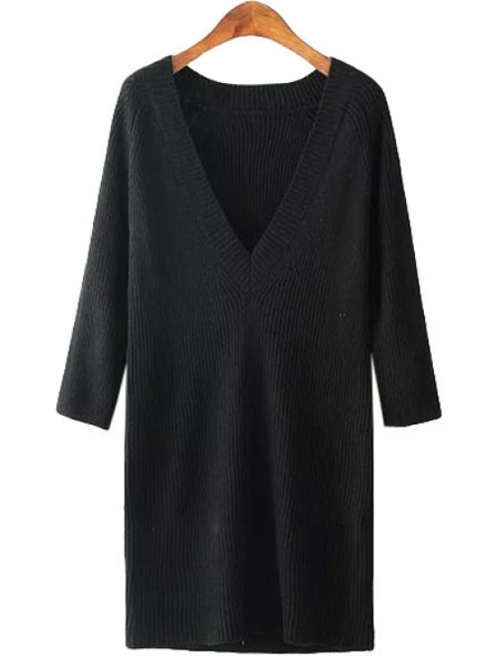 best V Neck Solid Color Long Sleeve Sweater - BLACK ONE SIZE(FIT SIZE XS TO M)