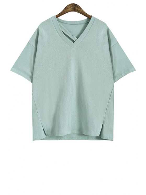 affordable Pure Color Side Slit T-Shirt - LIGHT GREEN ONE SIZE(FIT SIZE XS TO M)