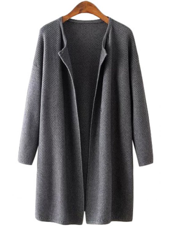 shops Scoop Neck Solid Color One Button Cardigan - GRAY ONE SIZE(FIT SIZE XS TO M)