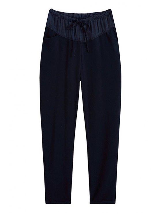 outfit Solid Color Pocket Design Loose-Fitting Pants - DEEP BLUE M