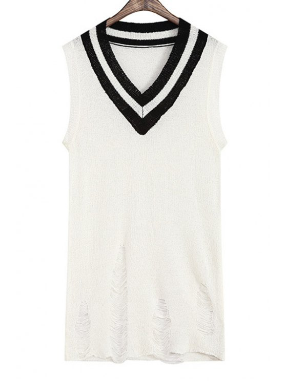latest Color Block Knitted Hole Design Tank Top - WHITE ONE SIZE(FIT SIZE XS TO M)