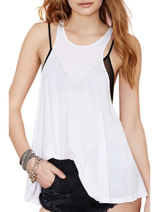 women's White Backless Sleeveless Tank Top - WHITE S