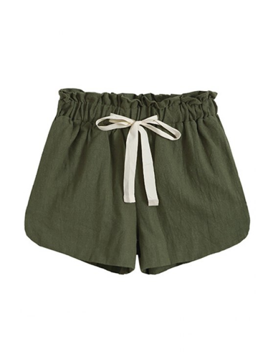 shops Wide Leg Solid Color Bowknot Embellished Pocket Shorts - ARMY GREEN ONE SIZE(FIT SIZE XS TO M)