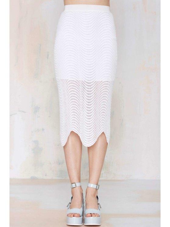 best White Ripple Zipper Fly Skirt - WHITE S