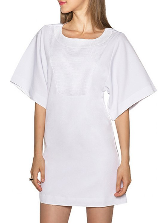 buy Jewel Neck Solid Color Short Sleeve Dress - WHITE S