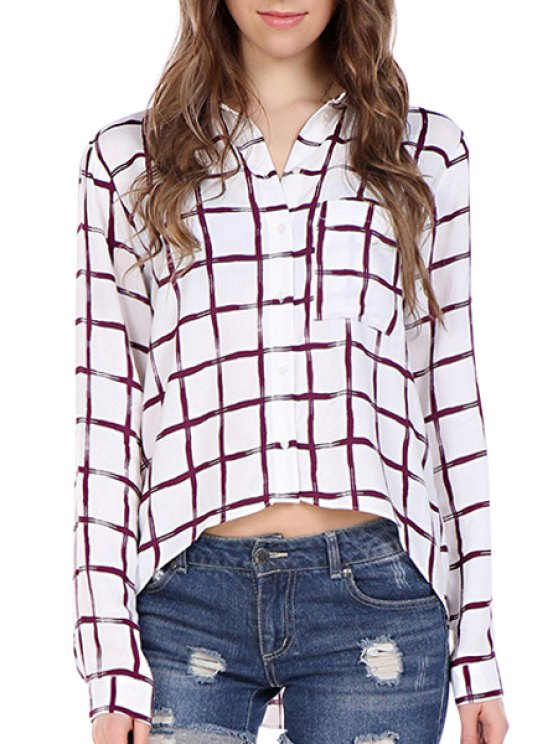 ladies Plaid High Low Long Sleeve Shirt - WHITE S