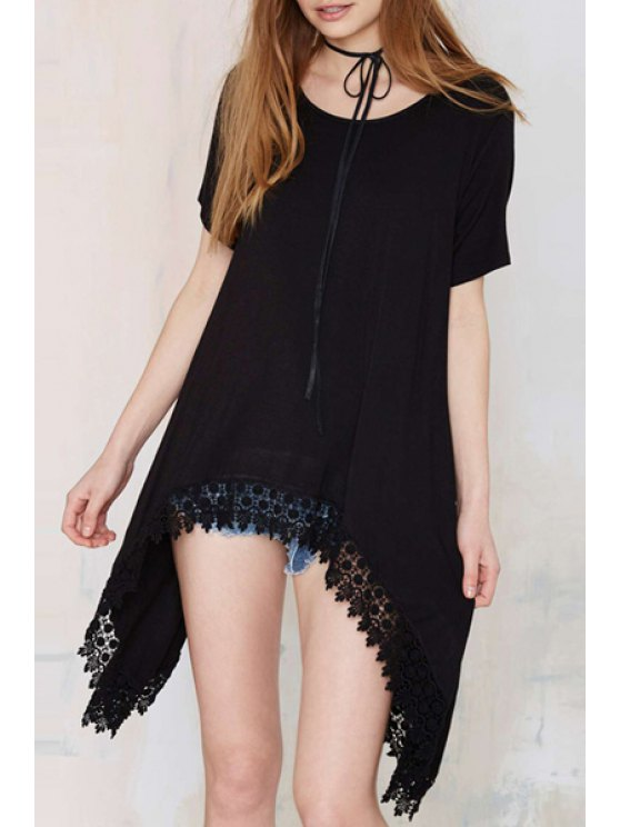 hot Lace Edging Solid Color Short Sleeve T-Shirt - BLACK S