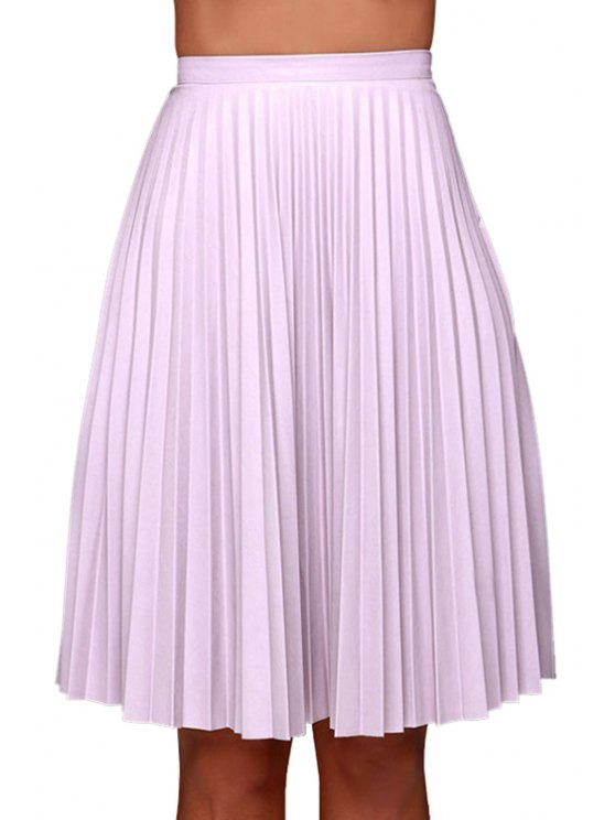 outfit Purple Pleated High Waisted Midi Skirt - PURPLE S