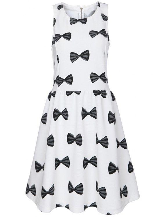 fashion Bowknot Print Sleeveless Dress - WHITE S