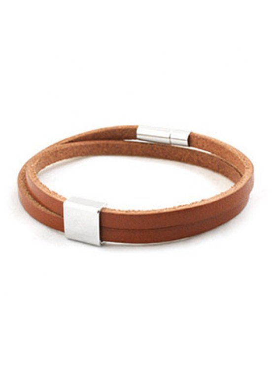 lady Casual Faux Leather Chain Geometric Bracelet For Men - COFFEE