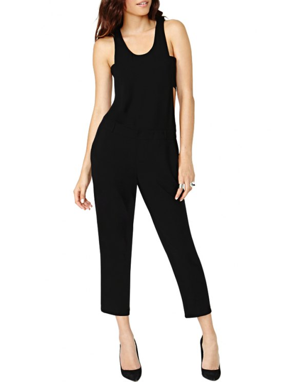 outfit Black Cut Out Sleeveless Jumpsuit - BLACK S