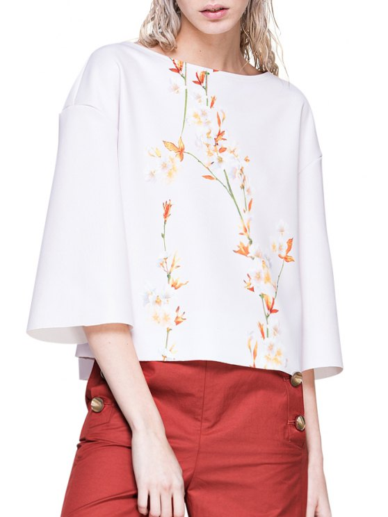 buy Floral Boat Neck 3/4 Sleeve T-Shirt - WHITE S