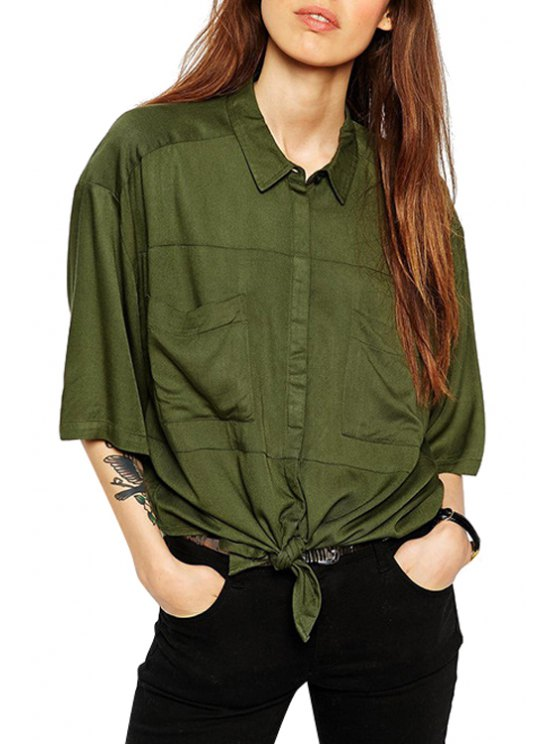 hot Tie Knot Solid Color Half Sleeve Shirt - GREEN S