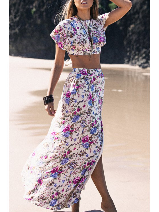 sale Short Sleeve Crop Top and Floral Print Skirt Suit - AS THE PICTURE S