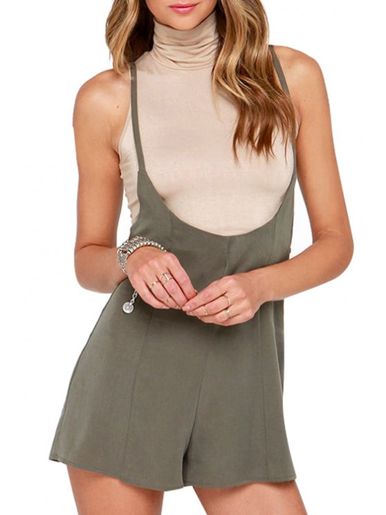 fashion Spaghetti Strap Tie-Up Solid Color Romper - OLIVE GREEN S