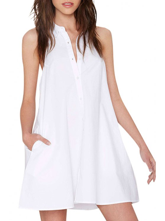 sale Halter Neck Backless Solid Color Sleeveless Dress - WHITE S