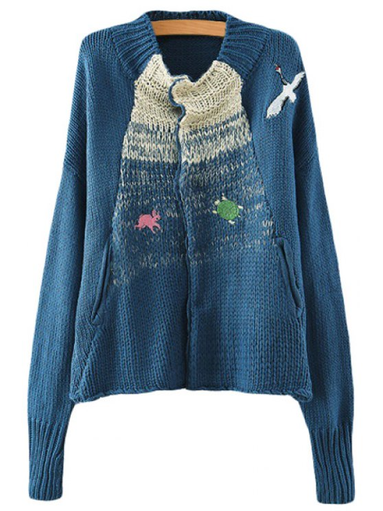 hot Animal Embroidery Long Sleeve Cardigan - BLUE ONE SIZE(FIT SIZE XS TO M)