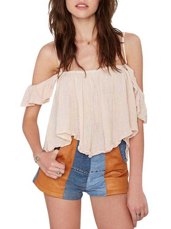 outfits Spaghetti Strap Solid Color Flounce T-Shirt - KHAKI S