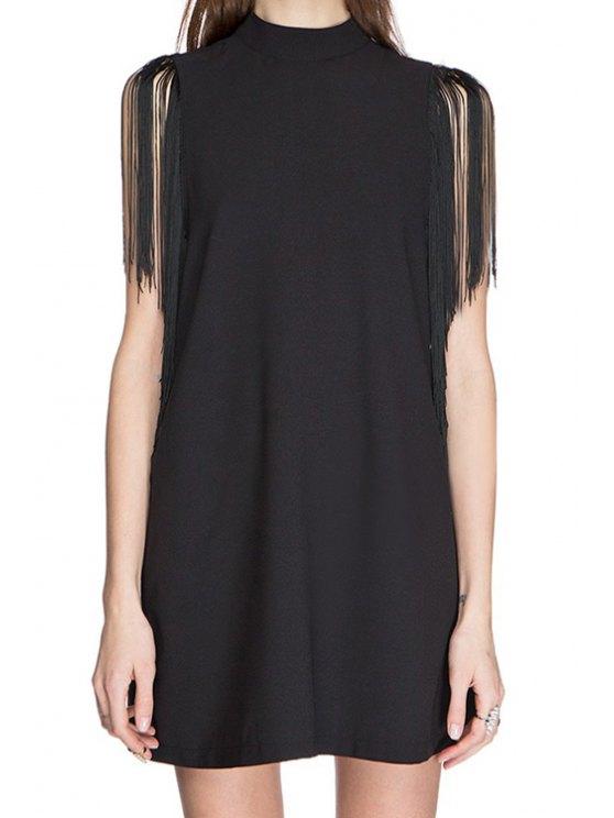 hot Stand-Up Collar Fringe Splicing Sleeveless Dress - BLACK S