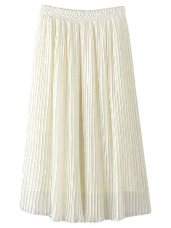 trendy Pleated Chiffon A Line Skirt - WHITE L