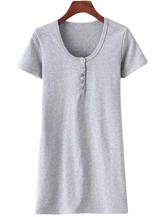 unique Solid Color Scoop Neck Short Sleeves Dress - GRAY S