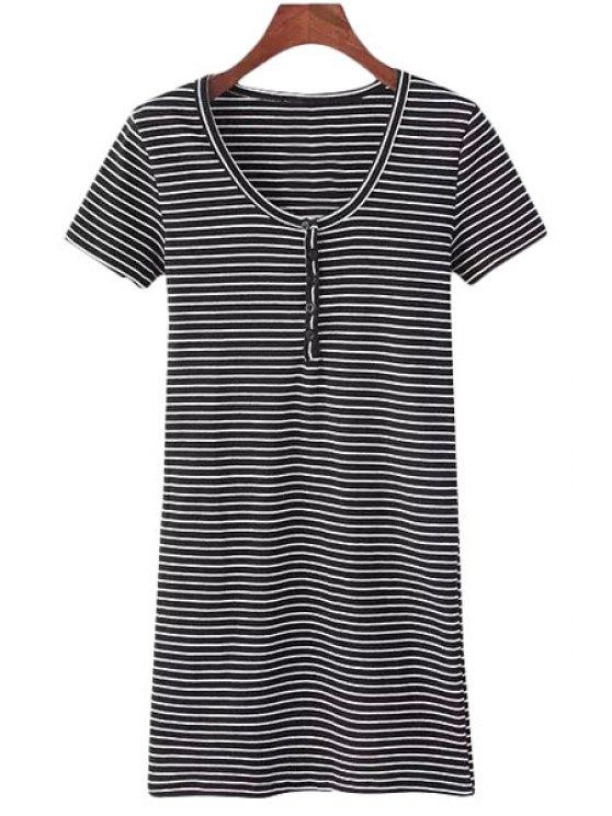 affordable Stripes Scoop Neck Short Sleeves Dress - STRIPE S