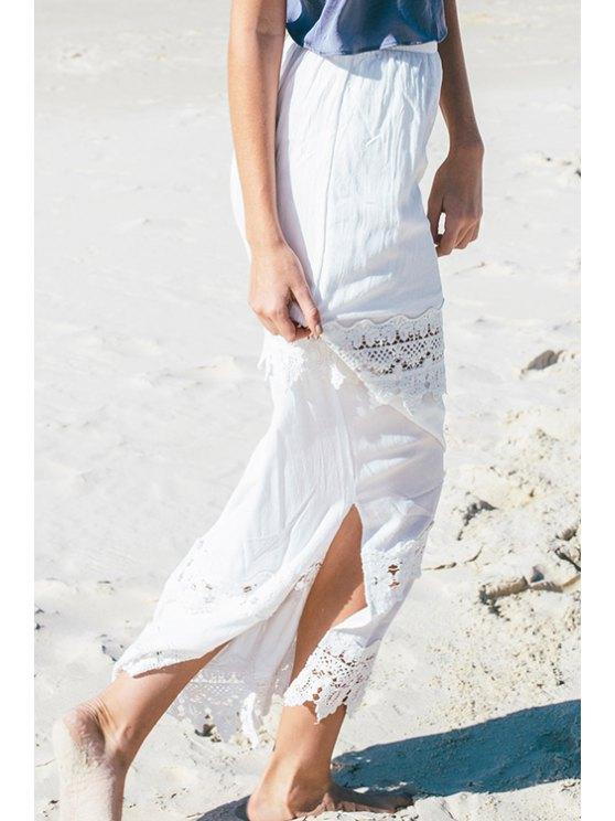 buy Lace Spliced Side Slit White Maxi Skirt - WHITE S