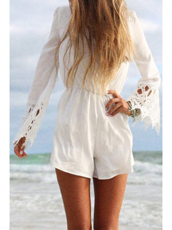 outfits Long Sleeve Lace Spliced White Playsuit - WHITE S