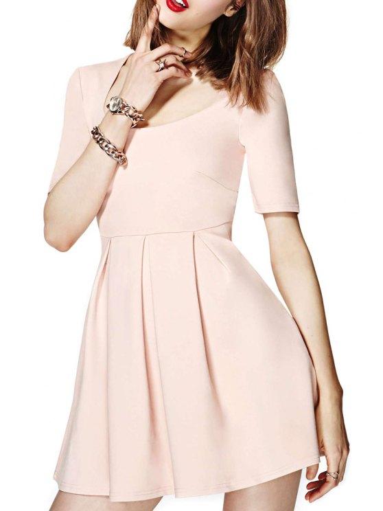 hot U-Neck Solid Color Ruffle Dress - LIGHT PINK 2XL